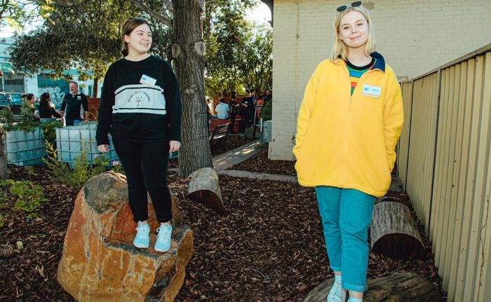 2 girls wearing the fund granters tshirts at 54 Connect Community Garden Perth