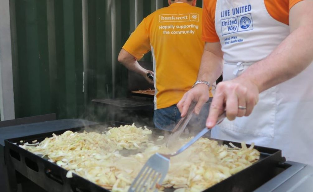 Onions cooked by volunteers at the Hope BBQ by United Way WA intern Emma